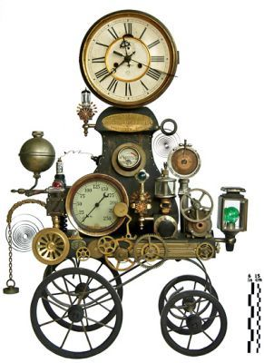 just wheel it in when you want to know the time! steampunk clock sculpture assemblage decor thingy