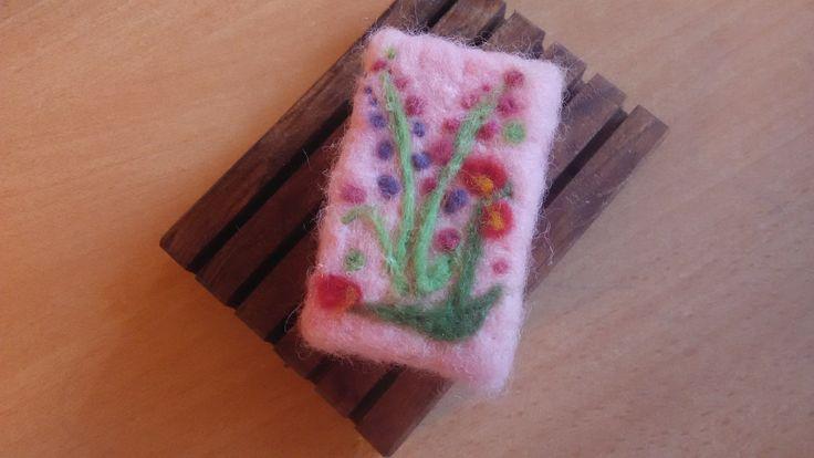 felted flower soap
