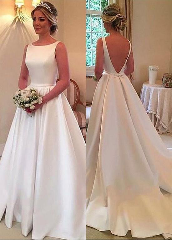 Magbridal Charming Satin V-neck Neckline A-line Wedding Dresses With Belt & Bowknot