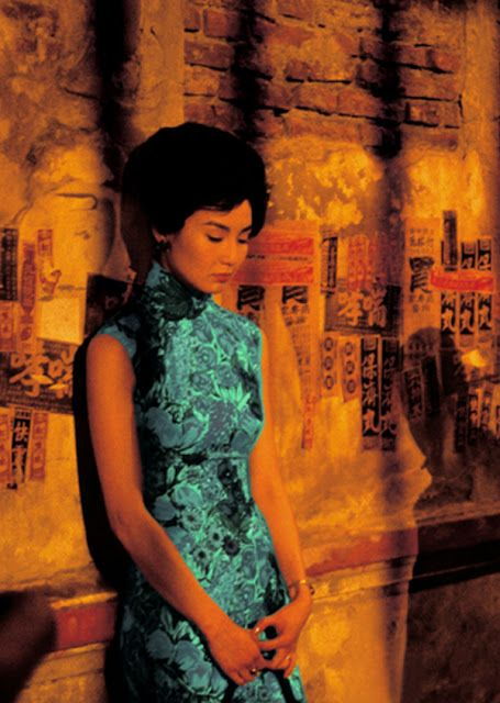 Inspiration: Tiki Island Hawaii Asian Chinese Cheongsam vintage fashion style turquoise blue black floral dress 60s In the mood for love