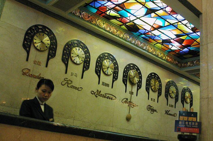 International time clocks in Old Peace Hotel, Shanghai