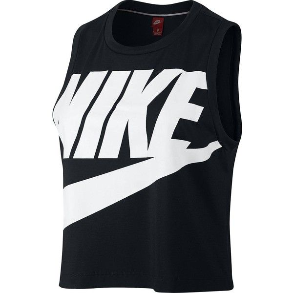 Nike Sportswear Essential Logo Cropped Tank (92 BRL) ❤ liked on Polyvore featuring tops, logo tank tops, nike, summer crop tops, nike singlet and nike top