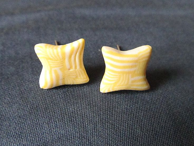 yellow-white striped polymer clay earrings