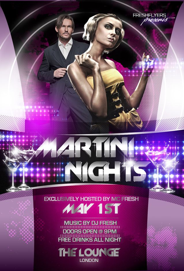 Martini Nights Psd Flyer Template By Imperialflyers.Deviantart.Com