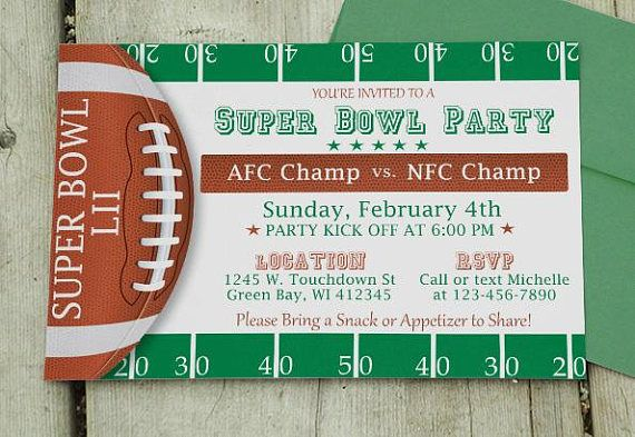 Super Bowl Invitation  Editable Template  Microsoft Word