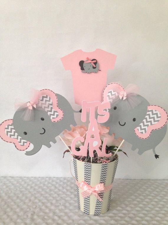 Rosa y gris elefante bebé ducha central por AllDiaperCakes en Etsy