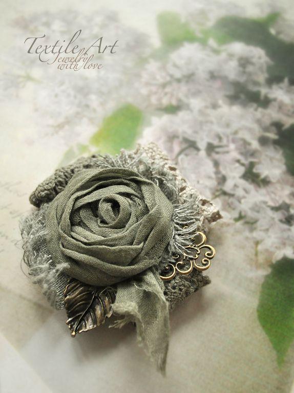 """Купить Брошь """"По траве босиком..."""" - брошь, романтика, роза, кружево, бохо"""