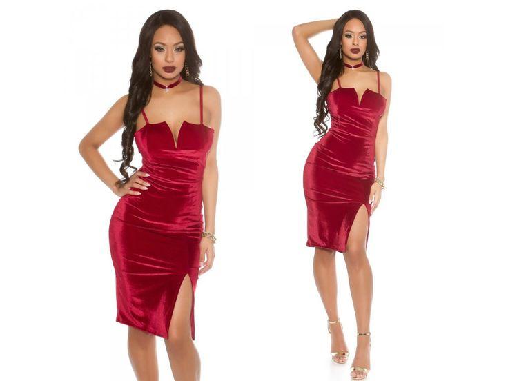 Červené midi šaty Koucla VELVET, RYCHLÉ DODÁNÍ - Bestmoda - red midi dress for your prom and party
