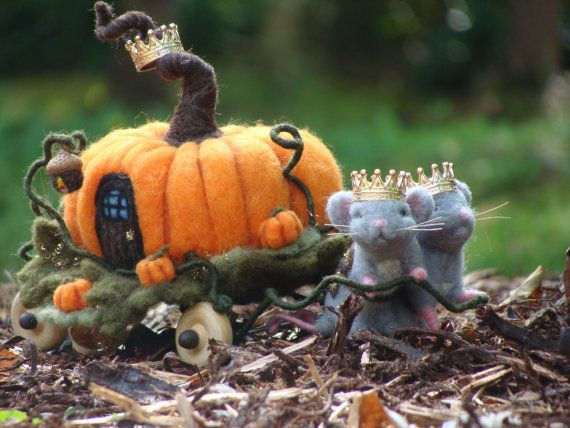LAYAWAY RESERVED - Needle Felted Miniature Pumpkin Carriage and Royal Mice - Needlefelted Wool Animal Plant Soft Sculpture by McBride House