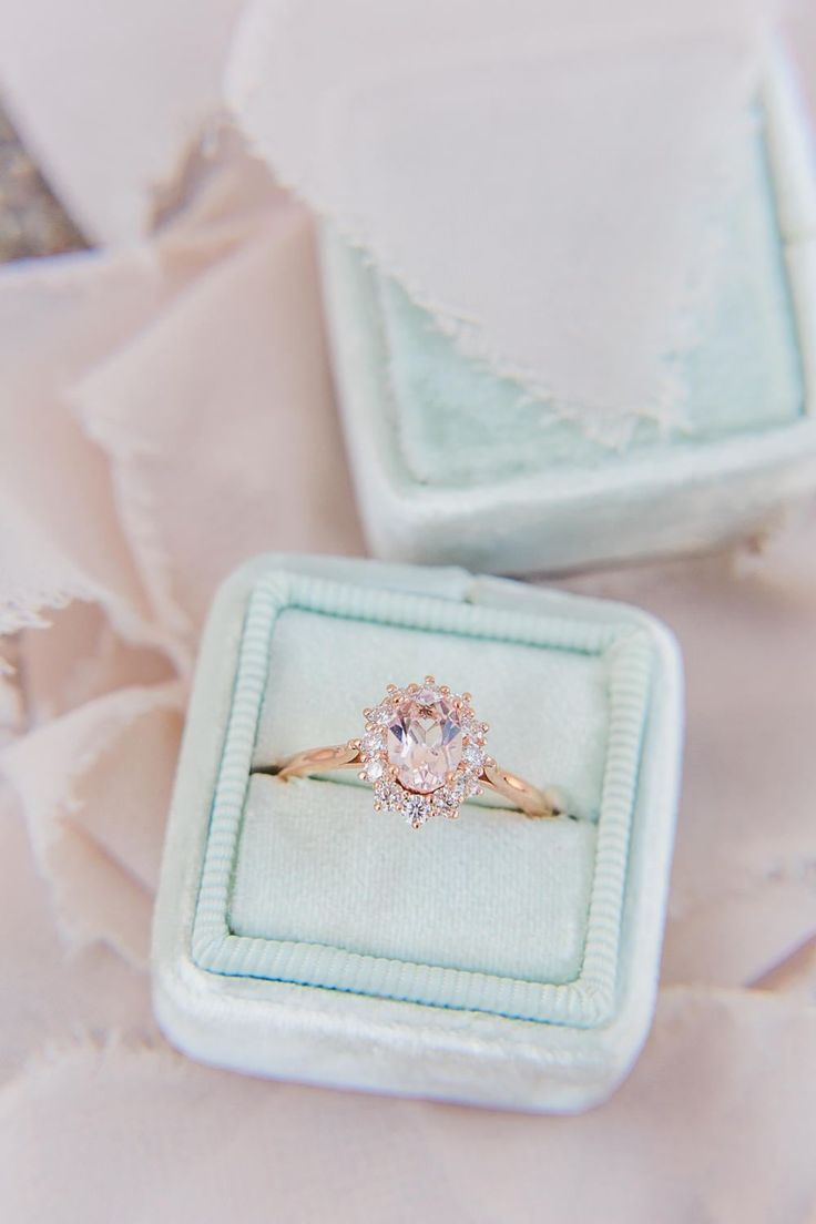 Rose Gold Morganite Ring Oval Morganite Diamond Halo Ring