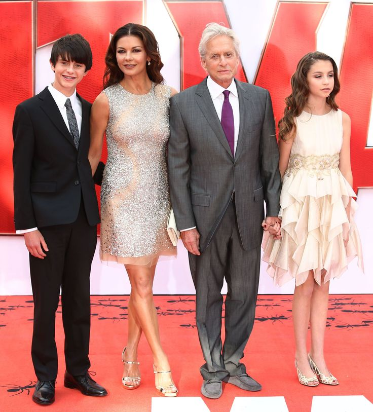 "Dylan Douglas, Catherine Zeta-Jones, Michael Douglas and Carys Douglas attend the ""Ant-Man"" film premiere in London on July 8, 2015."