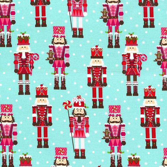 Nutcrackers Christmas Fabric / Aqua, Pink and Red / Michael Miller Yardage / 1 Yard on Etsy, £6.12