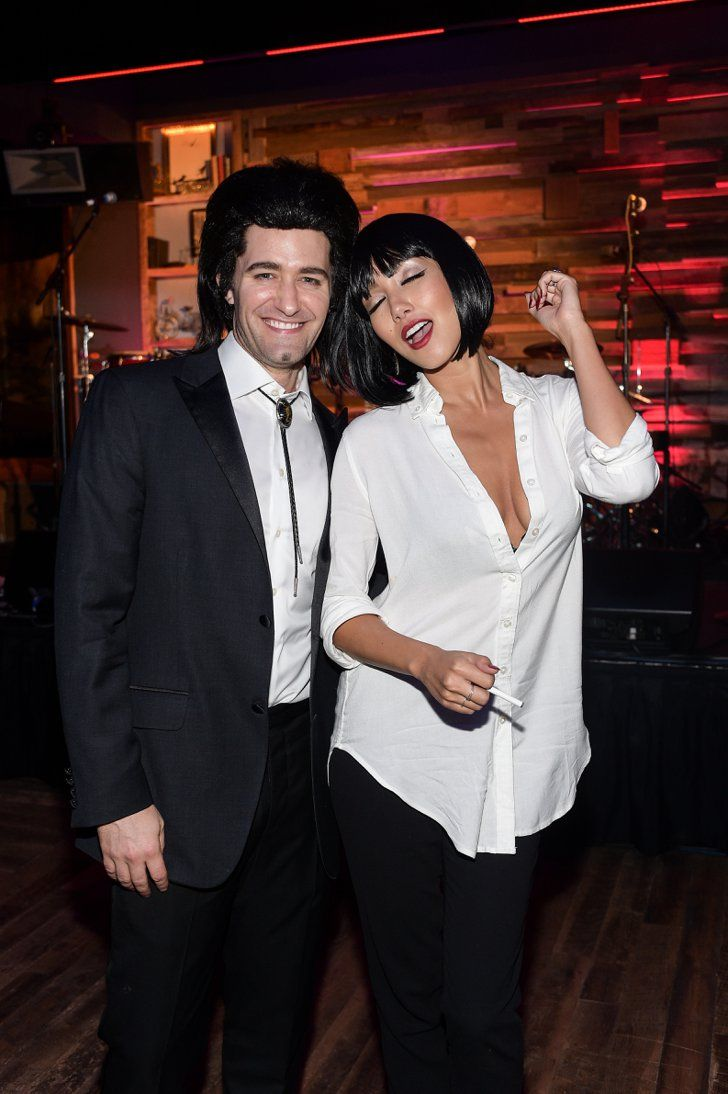 Pin for Later: 27 Vintage Movie Halloween Costumes Worn by Celebrities Vincent and Mia From Pulp Fiction Matthew Morrison and new wife Renee Puente dressed up as Vincent Vega and Mia Wallace from Pulp Fiction.