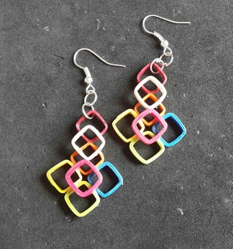 Quilled rainbow earrings by Smita.