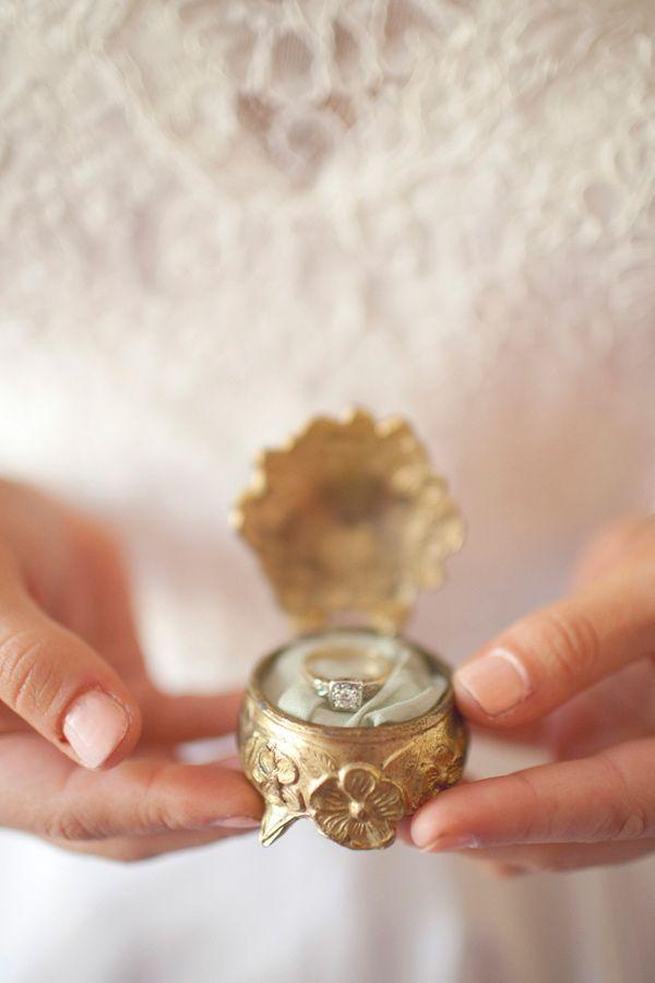 gold trinket box + ring // photo by Simply Rosie // View more: http://ruffledblog.com/intimate-minnesota-wedding/