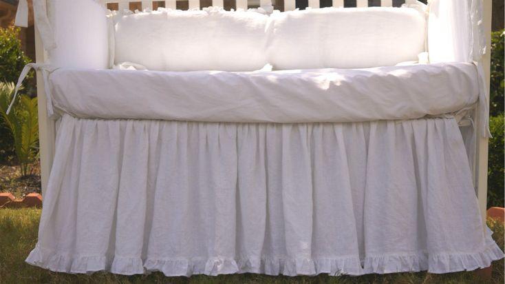 New to CustomLinensHandmade on Etsy: Crib bed skirt with ruffle hem Custom Crib bedding gathered crib skirt and 4 side bumper Snow White crib skirt (182.00 USD)