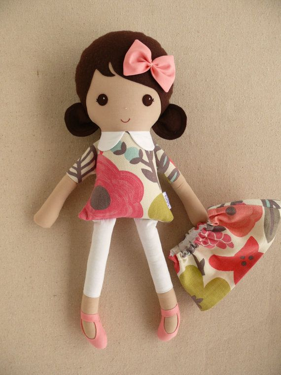 Reserved for Kristen Fabric Doll Rag Doll Brown by rovingovine