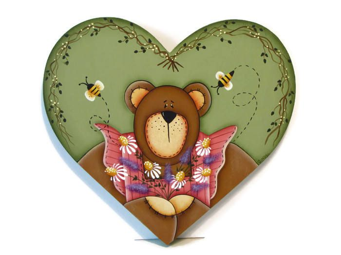 Bear with Flowers on Heart Shaped Plaque, Handpainted Wood, Hand Painted Prim Country Home Decor, Tole Decorative Painting by ToleTreasures on Etsy