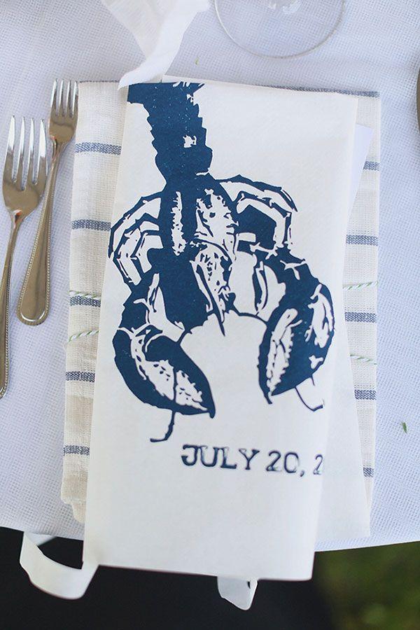 let's get messy. custom wedding bib #lobsterfest http://www.weddingchicks.com/2013/12/11/seaside-wedding-2/