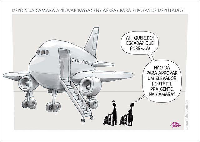 Câmara aprova passagem de avião para esposas de deputados.
