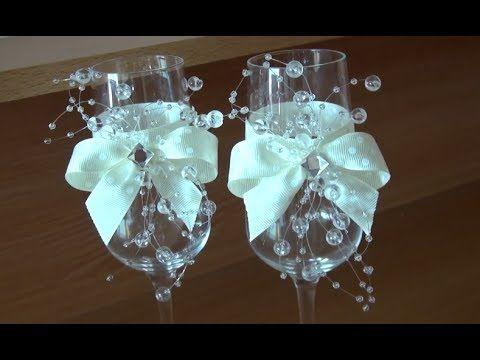 Свадебные бокалы в морском стиле/мастер класс/wedding glass - YouTube