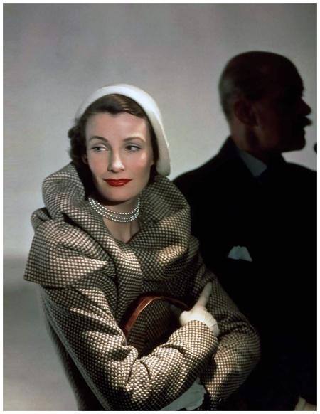 Wenda Parkinson in a Hardy Amies coat, 1949 Photo Norman Parkinson