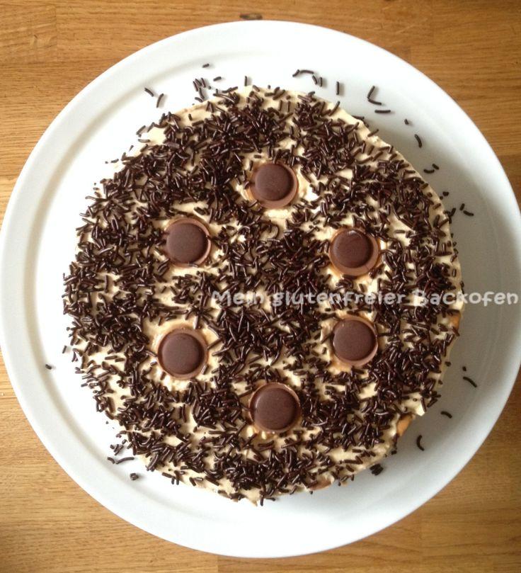 Toffifee-Torte auf kaltem Weg - herrlich karamellig!! Und vegetairsch ist sie auch noch, ganz ohne Gelatine.