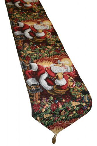 "Holiday Christmas Santa Claus Design 13"" X 70"" Table Runner"
