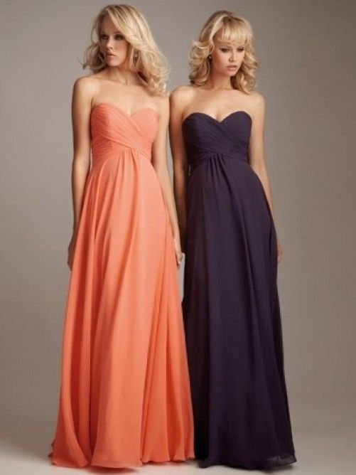 New A-line Sweetheart Ruffles Sleeveless Floor-length Chiffon Bridesmaid Dresses