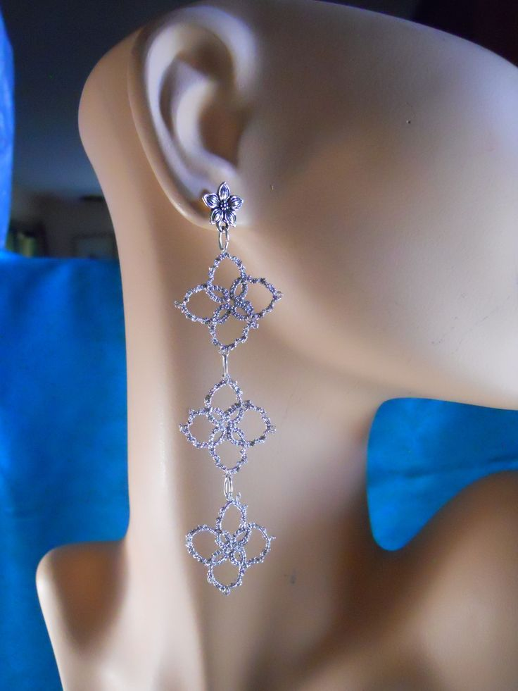 Silver drop earrings with star jasmine posts by Mummyearth Designs