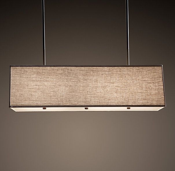 Rectangular Shade Pendant. Comes in grey, and black too. Leave leaf in table and do rectangle?