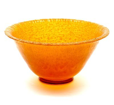 Found on www.botterweg.com - Amber glass Serica bowl no.2 with crackle design A.D.Copier 1928 executed Glasfabriek Leerdam / the Netherlands
