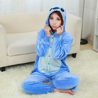 Blue Stitch Pajamas Flannel Pajamas One Piece Cartoon Blue Stitch Pyjama Femme Sleepwear Pijamas De Animales De Una Sola Pieza