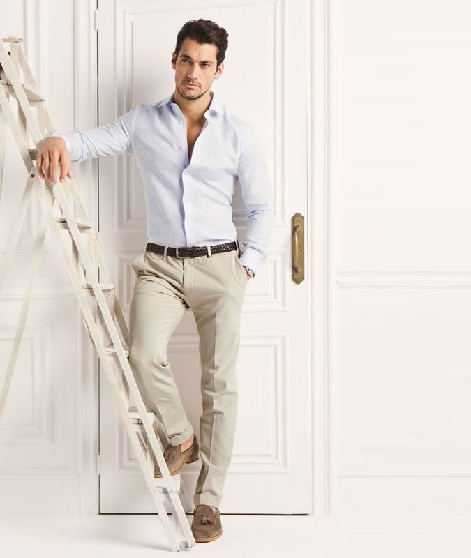 David Gandy Wearing Light Blue Long Sleeve Shirt Beige