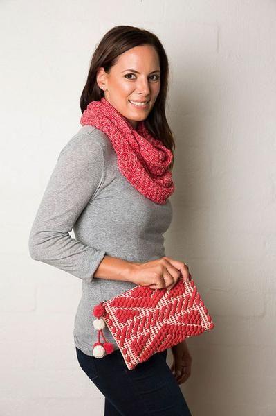 *NEW* Lee Garrett Scarf - Basketweave Knitted Loop Scarf - Cherry Red - Seasons Emporium - 3