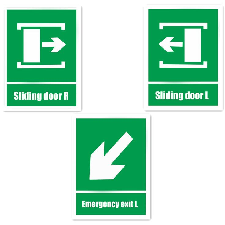 Sliding Door Green Fire Sign Self-adhesive Stickers For Walls Warning Safety Sign Sticker Emergency Exit L 15x20cm