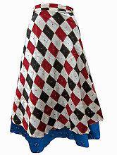 Easy Breezy Silk Sari Wrap Skirt Red White Black