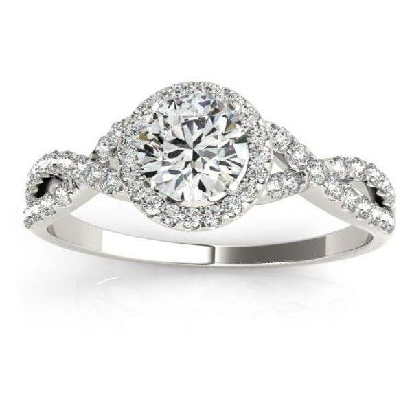 Allurez Twisted Infinity Halo Diamond Engagement Ring Palladium (0.20ct) featuring polyvore, fashion, jewelry, rings, white, diamond rings, pear diamond ring, wedding band rings, round engagement rings and round cut rings