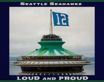"Poster Seattle Seahawks 12th man Space Needle Mini Poster Wall Art Print 8x11"" Loud & Proud - Free USA Shipping"