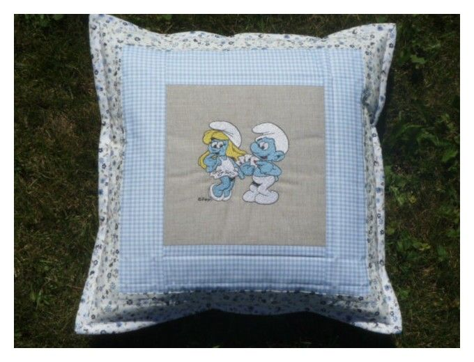 Pillow - Embroidered Smurfs