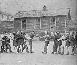 Hatfield children (left) and McCoy children (right)  playing Tug-of-War at the Matewan School