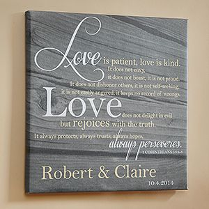 Love Is Patient Personalized Canvas Print- such a beautiful wedding gift idea!Personalized Canvas, Canvas Prints 12 X