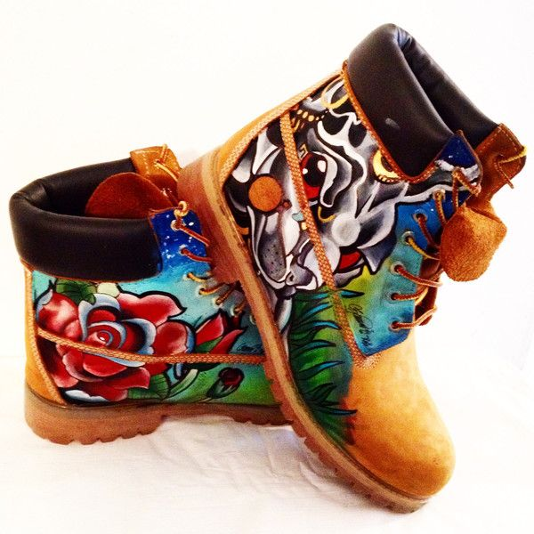 Custom Floral Wheat Hand Painted Sierato Tattoos For Shoes Timberland.. Wheat Timberlands with floral new school tattoo flash style designs hand painted and un…