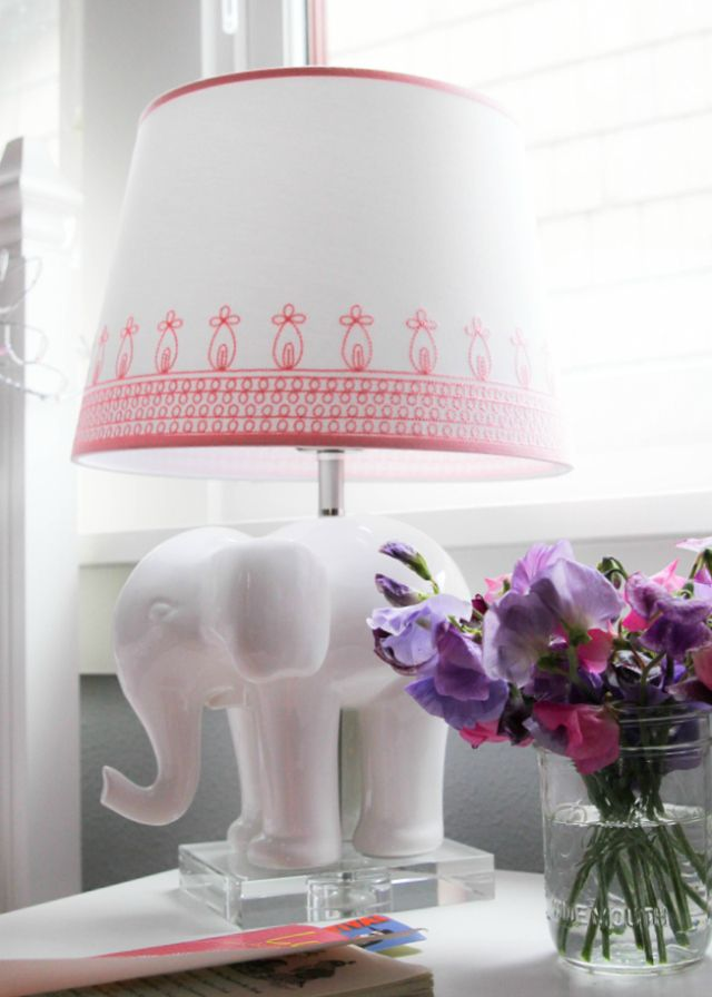 Project Nursery   Elephant Lamp With Embroidered Shade   Project Nursery
