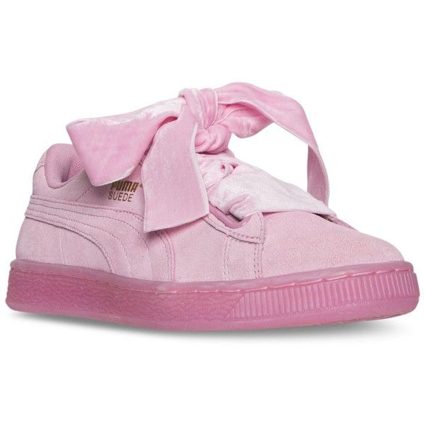 Puma Women's Suede Heart Reset Casual Sneakers from Finish Line ($80) ❤ liked on Polyvore featuring shoes, sneakers, prism pink, suede leather shoes, puma footwear, pink suede shoes, suede trainers and puma trainers