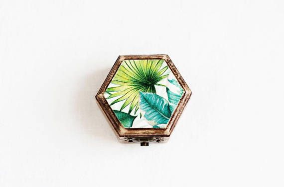 Wedding Ring Box, Ring Bearer Box, Engagement Ring Box, Rustic Ring Box, Geometric Ring Bearer, Ring Holder, Tropical, Hawaii wedding box