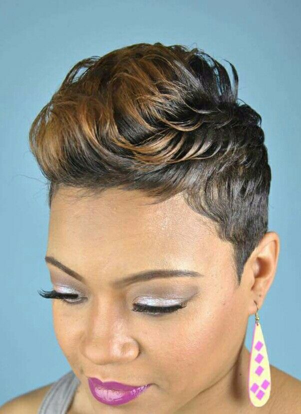 Short Black Hairstyle With Honey Highlights For Black Women Hair Styles Short Hair Styles Trendy Short Hair Styles