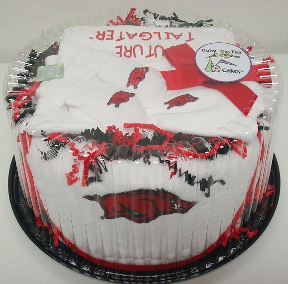 Score big points at the next baby shower with our Arkansas Razorbacks Baby Fan Cake gift set by Future Tailgater, $49.99