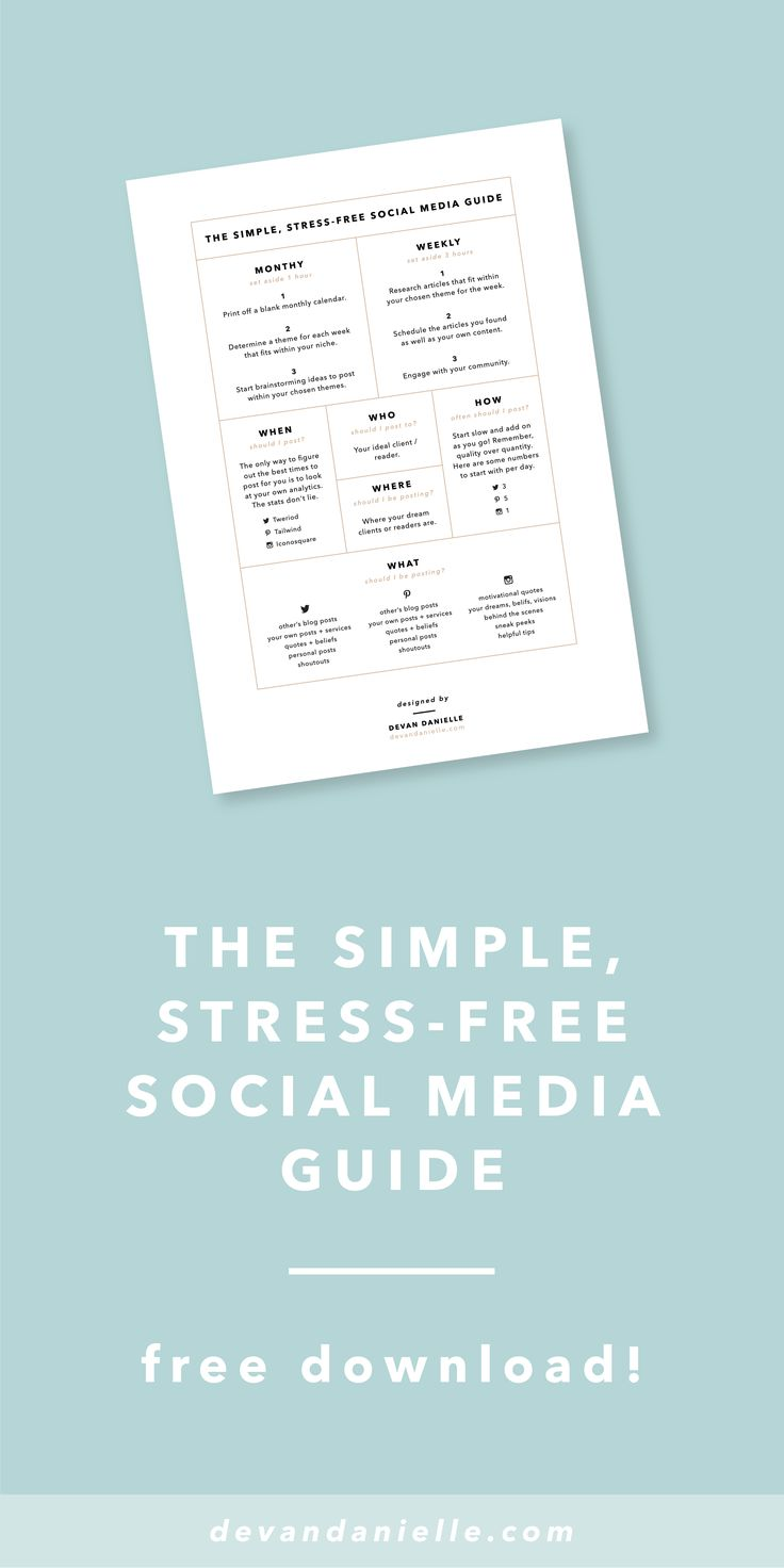 #FREE Simple, Stress-Free Social Media Guide! By Devan Danielle.