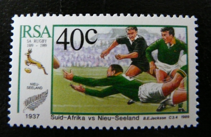 Rugby stamp from South Africa Springboks - All Blacks For more #rugby collectables check out my blog http://r0cky-rugby.blogspot.com